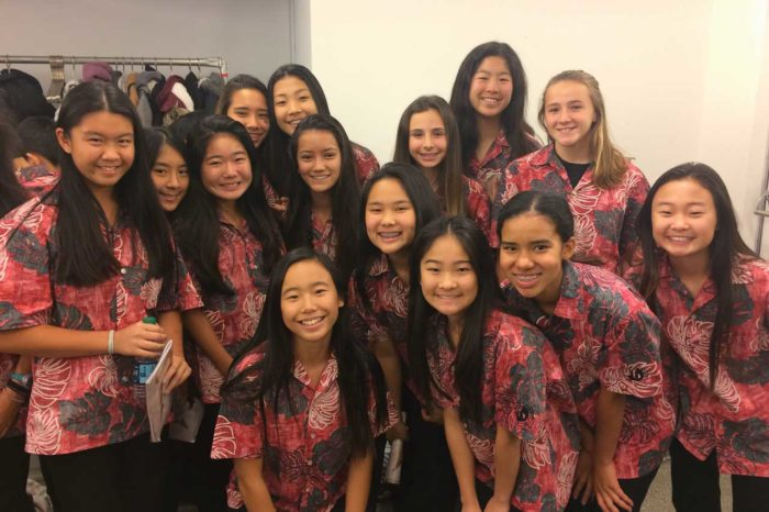 Group of girls in red aloha shirts in front of white wall
