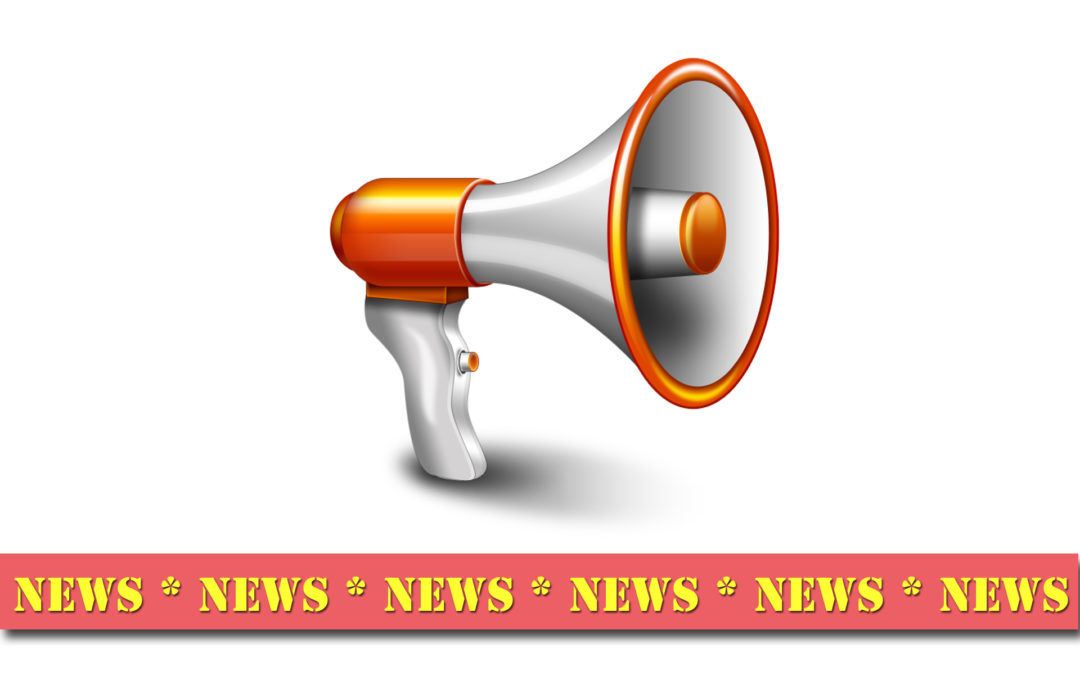 Clipart of a megaphone with a news banner at the bottom