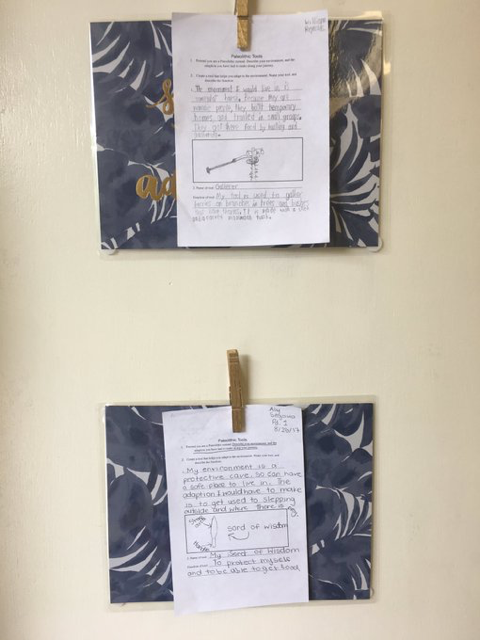 student work displayed on wall