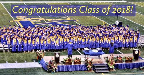 High school graduates in blue gowns on football field Congratulations Class of 2018