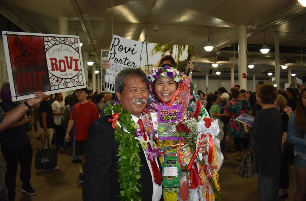 Man with maile lei and Graduate with leis and sign Congratulations Rovi Porter sign