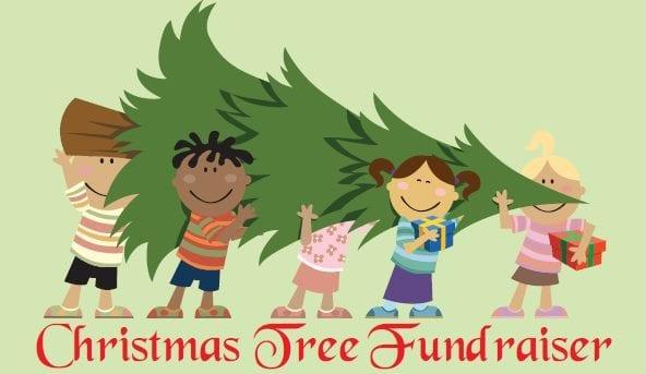 Clip Art Christmas Tree Fundraiser cartoon kids carrying pine tree