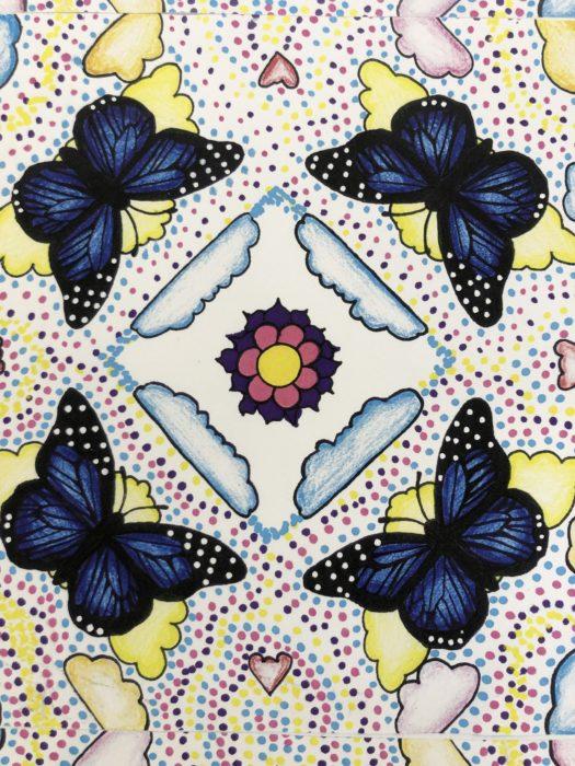 Artwork of 4 blue butterflies