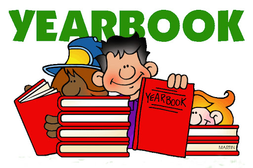 Clipart Image of Yearbook with 3 students holding red yearbooks